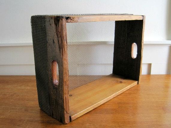 Vintage Wood Box Crate w/ Screen - Rustic Storage
