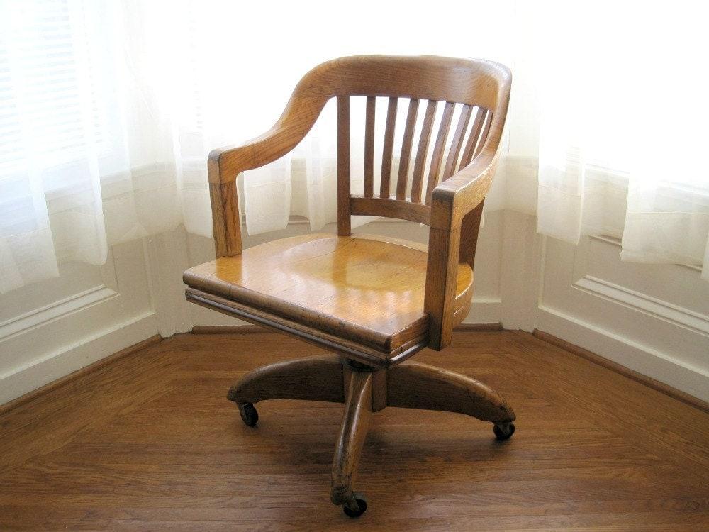 Vintage Oak Swivel fice Chair Gunlocke Rustic Industrial