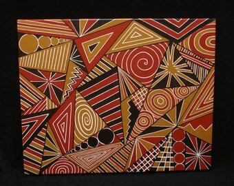 "Original Abstract Painting ""TRIFECTA"" 20"" x 16"" Jul Deco Original"