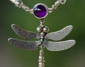 Dragonfly Necklace - sterling silver with amethyst