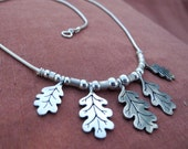 Oak Leaf Necklace - sterling silver - statement