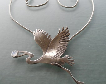 Great Blue Heron Pendant - sterling silver