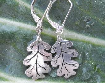 Oak Leaf Earrings - sterling silver