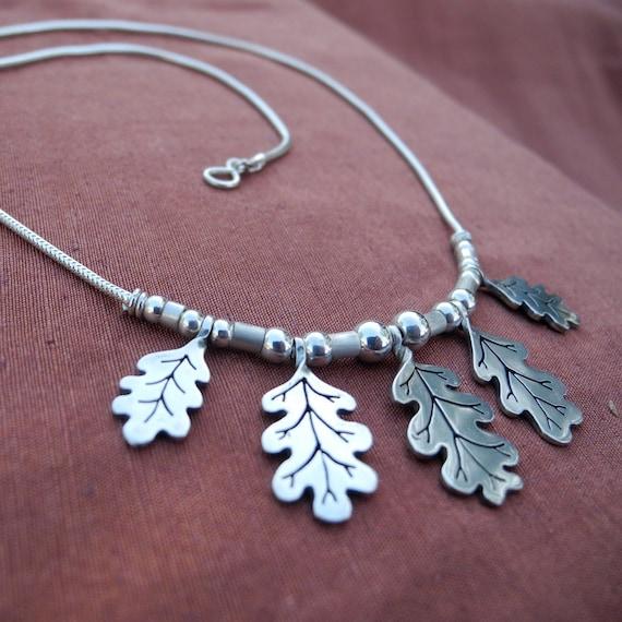 Oak Leaf Necklace - sterling silver - statement