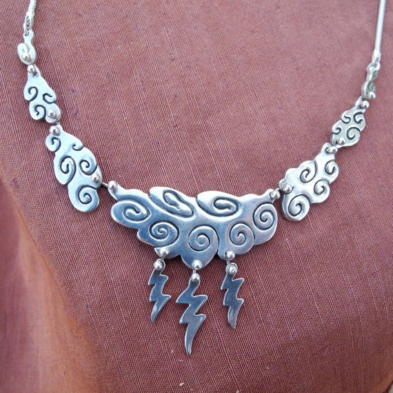 Thunder-Cloud Necklace - sterling silver - statement