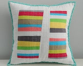 kona cotton modern, graphic,  one of a kind patchwork throw pillow cover