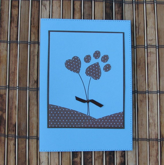 Any occasion pet lover's heart paw print card with envelope blue brown