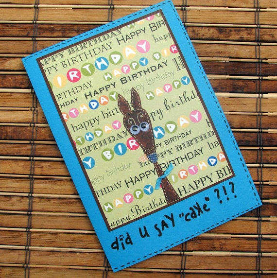 Greyhound birthday card whimsical blue brown green card with envelope silly old greyhound