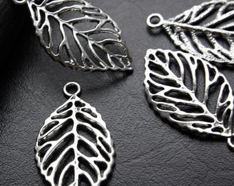 4pcs / Leaf / Oxidized Silver Tone / Base Metal Charms (YA1842//B28)