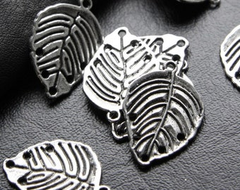 12pcs / Leaf / Oxidized Silver Tone / Base Metal / Charms / 30x21mm (YA1632//A336)