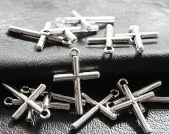 30pcs / Cross / Oxidized Silver Tone / Base Metal Charms / 23x16mm  (XA1885//B38)
