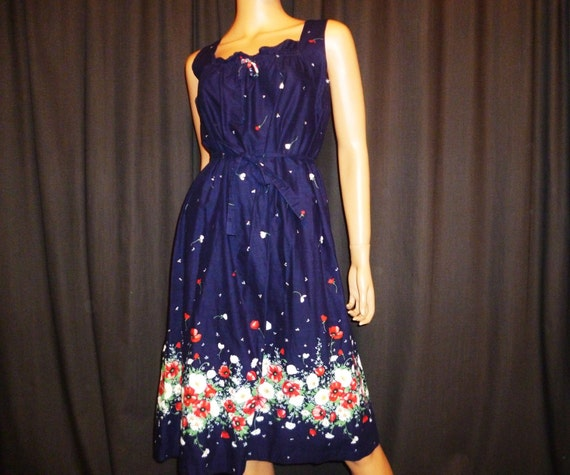 Vintage 60's Blue Floral Cotton Tied Summer Dress