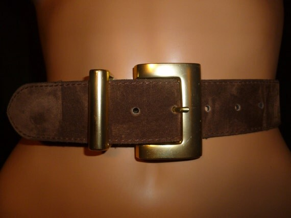 """Vintage 1990's Chocolate Brown Suede Belt with Gold Tone Metal accents by Express size small/medium  27""""- 31"""" waist"""