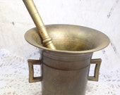 Antique Brass Pharmacists Apothecary Mortar and Pestal