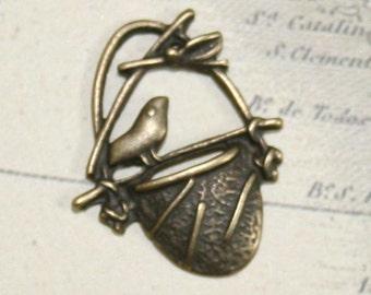 23x20mm antiqued bronze bird in nest pendant - set of 5