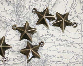 SUPER SALE - Large Quantities  - 15x12.5mm antiqued bronze steampunk star charms - set of 60