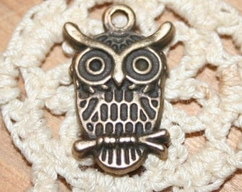 10 antique bronze finish owl charms