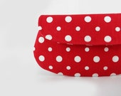 Red and white Polka dot clutch purse, cosmetic bag