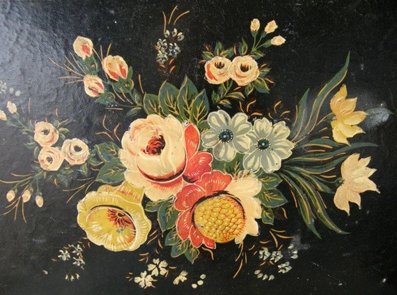Vintage Paper Mache Tray Black with Colorful Flowers Hand Painted Japan