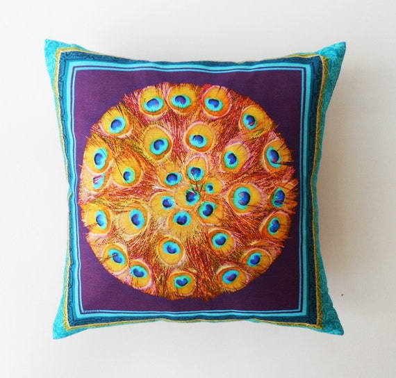 Decorative Throw Pillow Cushion Cover Blue Peacock Feather