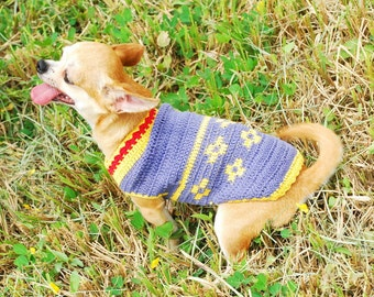 Blue Flower Crochet Dog Clothes Chihuahua Yorkie Sweater Puppy Unique Handmade Pet Gifts DK818 Free Shipping