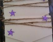 Rustic  Purple / Lilac Starfish Beach Themed Wedding Invitation Cards Card - Sets of 10