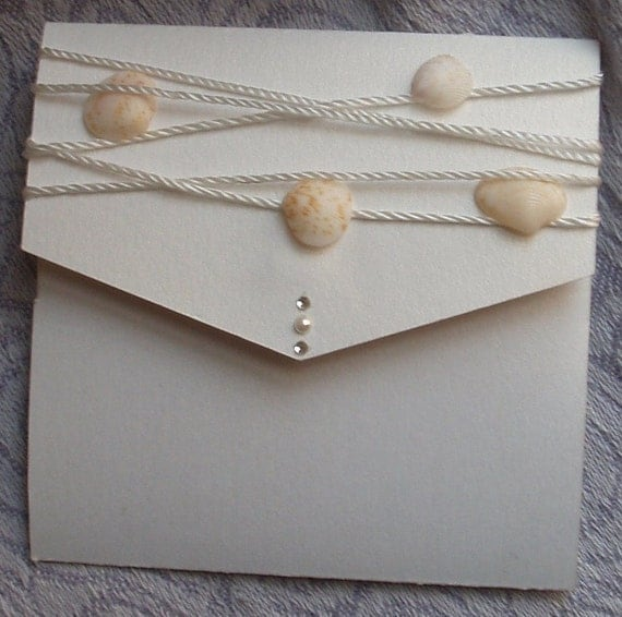 Hand picked Shells and Pearls Beach Themed Wedding Invitation