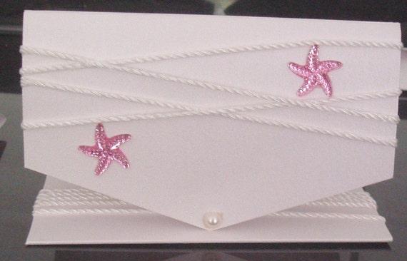 Starfish Wedding Invitation Kit: Elegant Pink Starfish Beach Themed Wedding By LKsInvitations