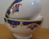 Pair vintage porcelain breakfast bowls