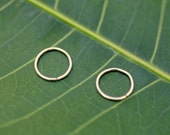 Nose Ring Hoops - Helix Piercings - Tragus Rings - Cartilage Earrings - One Pair of 14K Solid Gold Hoop Earrings - 7 mm Inner Diameter