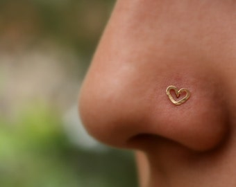 Nose Ring - Nose Stud - Nose Piercing - Tragus Piercing - Valentine Heart Nose Ring Stud - 14K Solid Yellow Gold