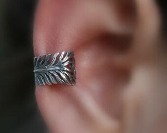 Sale - Ear Cuff - Feather Sterling Silver Ear Cuff - Non Pierced - Conch Cuff