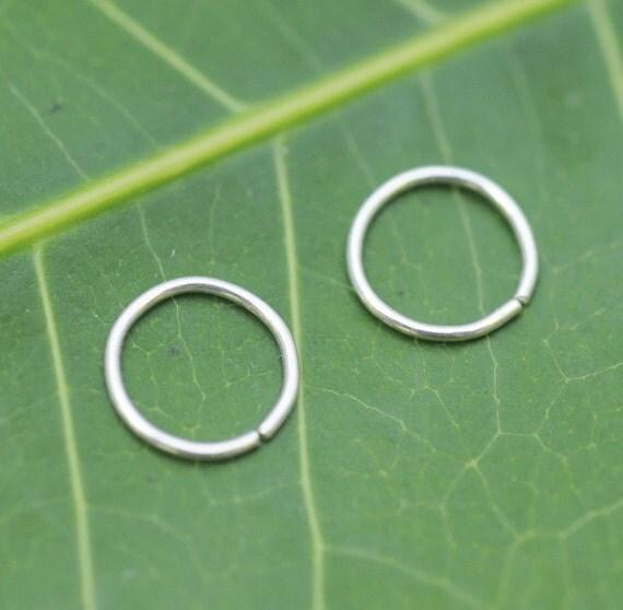 Nose Rings - Nose Hoops - Tragus Earrings - Cartilage Earrings - Nose Piercing - ONE PAIR  Sterling Silver 24 Gauge 7mm Inner Diameter Hoops