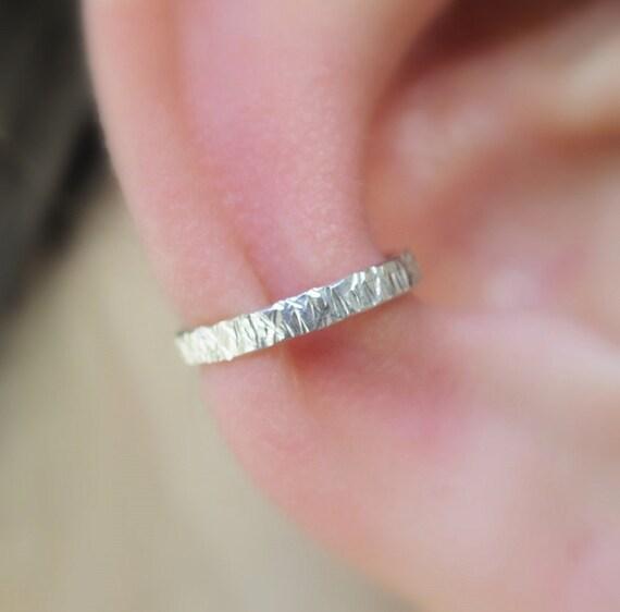 Sterling Silver  Ear Cuff - Textured 2mm Wide Ear Cuff - Non Pierced - Fake Conch Piercing - Conch Cuff