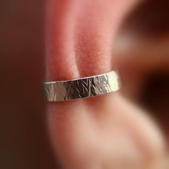 Ear Cuff - 14K Rose Gold Filled -Textured 3.5mm Wide Ear Cuff - Non Pierced - Fake Conch Piercing