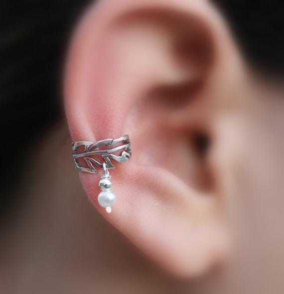 Sterling Silver Ear Cuff - Feather - Pearl Ear Cuff - Non Pierced - Conch Cuff