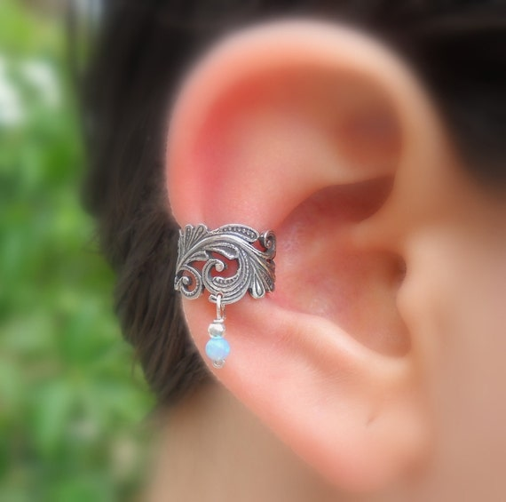 Sterling Silver Ear Cuff - Lace - Blue Opal - Non Pierced - Conch Cuff