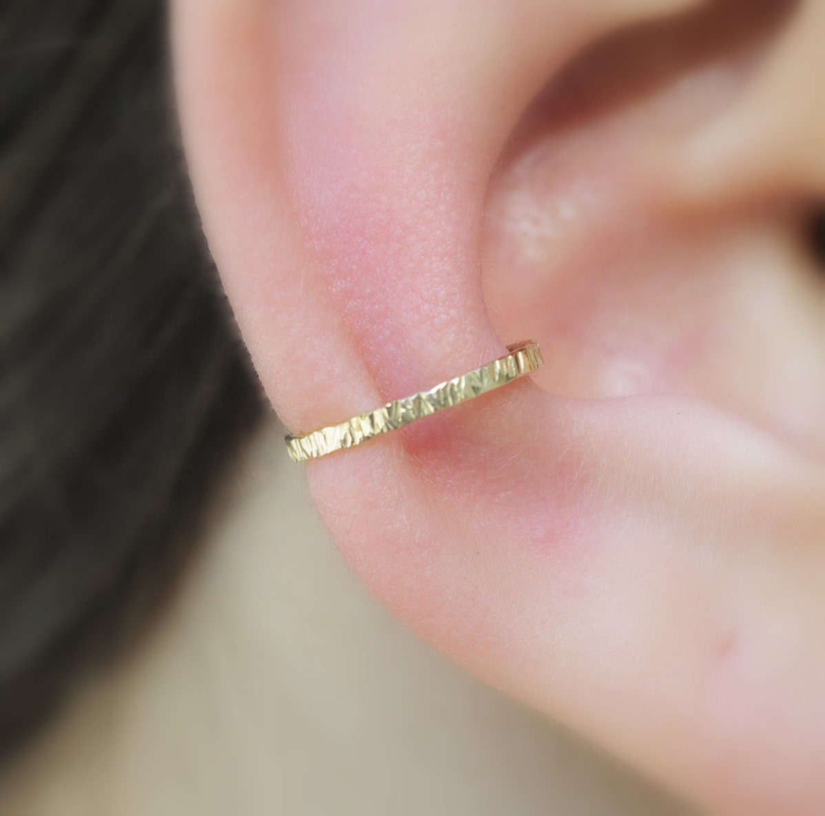 Ear Cuff 14k Solid Yellow Gold Textured 1 2mm Wide