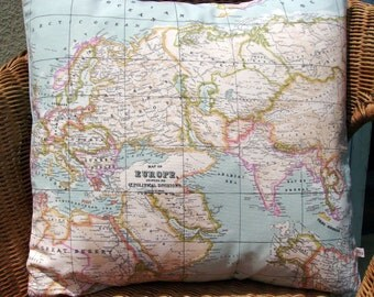 "map pillow covers, 18"" pair, as seen in Marie Claire, decorative pillow, travellers gift, map pillow, world map pillow, blue pillow"
