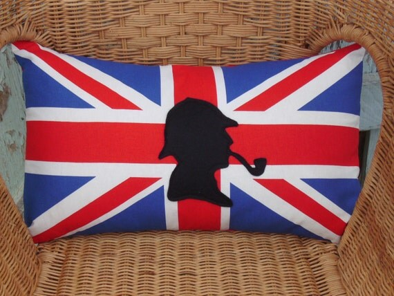 Sherlock Holmes pillow cover - UK flag pillow - UK pillow - decorative pillow - lumbar pillow - flag pillow - silhouette pillow -