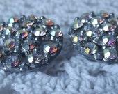 HALF PRICE Pair of Iridescent Rhinestone Buttons