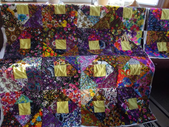 REDUCED Unfinished Quilt Comforter Top in Wild & Wooly Polyester Psychedelic Prints Ready to Finish