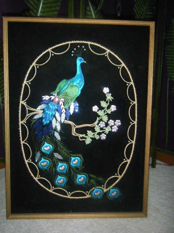 Avant Garde Peacock Mid Century Hand Stitched Wall Art