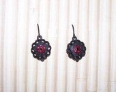 Black Earrings with Red Crystals