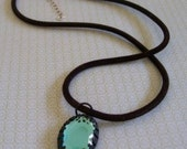 Aqua Pendant on Black Velvet Chain