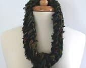 Crocheted Long Skinny Scarf with Fringe in Evergreen / Olive Green / Ebony Black / Brown / Gold