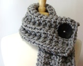 Chunky Knit Light Gray Cowl Scarf with Large Black Button