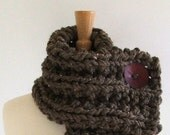 Chunky Knit Chestnut Brown Cowl Scarf with Large Cranberry Red Button