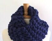 Chunky Knit Sapphire Blue Drop Stitch Infinity Cowl Scarf