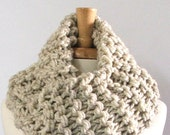 Made to Order - Chunky Knit Oatmeal Long Infinity Cowl Scarf